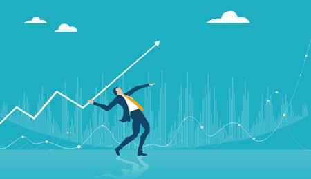 Successful businessman throwing the arrow into target as symbol of finding solution, controlling the situation and bringing the business to upper level Stock Illustratie
