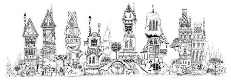Collection of ink drawing  houses for concept art inspiration. Magic village, fairy houses, fantasy medieval architecture. Conceptual art.