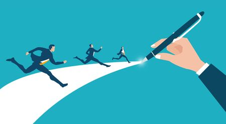 Successful business people running on the way which businessman hand was drawing for them as gaudiness and direction. Support, working together and help concept