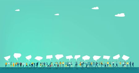 Lots of little people standing in line and having speech bubbles above them. Space for text. Background with many people