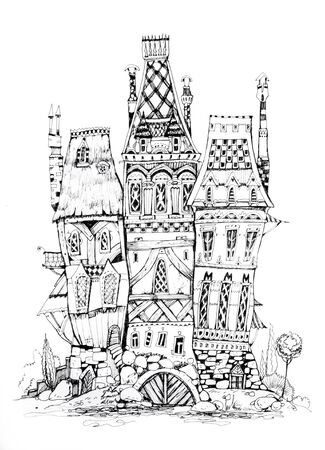 Collection of ink drawing houses for concept art inspiration. Magic village, fairy houses, fantasy medieval architecture. Conceptual art. Archivio Fotografico