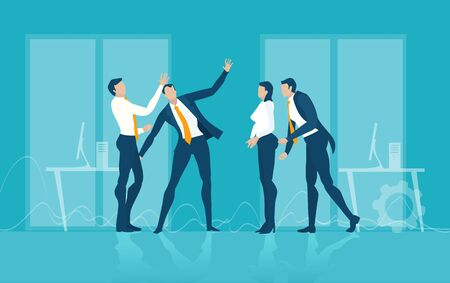 Team of successful business people talking in office, negotiating, having a meeting, discussing new opportunities, solving the problems Illustration