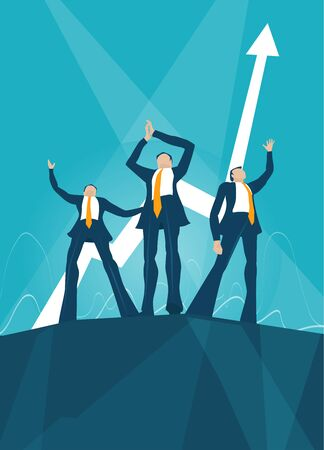 Successful business people staying on top of the high platform. Working together, finance, banking and investment concept Illustration