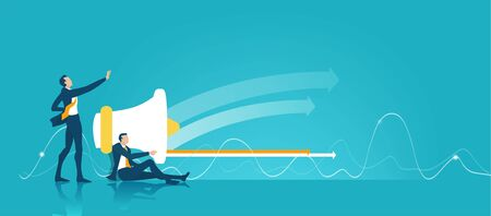Business people operating with megaphone. Working together, communication and controlling idea. Illustration