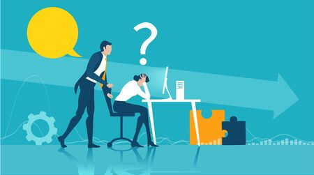 Business woman getting over stressed in the office, exhausted, tired person working long hours, competitive business life, stress and depression concept illustration.