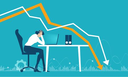 Business people getting over stressed in the office, exhausted, tired person working long hours, competitive business life, stress and depression concept illustration. Illustration
