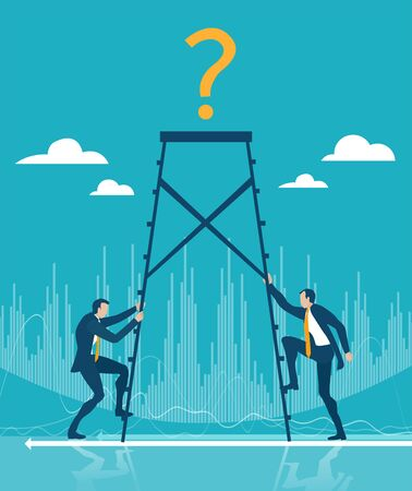 Business people climbing up the ladder of success. Challenge, winning, competition in business concept