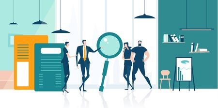 Business team working in office, discussing a new deal and making business plans. Business concept illustration