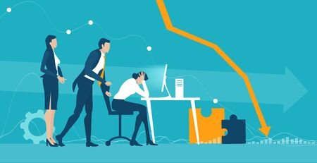 Business people getting over stressed in the office, exhausted, tired person working long hours, competitive business life, stress and depression concept illustration. Иллюстрация