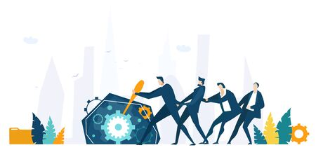 Businessman and his team pushing lever arm and making mechanism with gears working. Business concept illustration