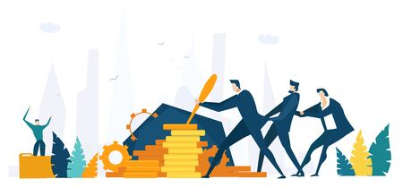 Businessman pushing lever arm and making mechanism with gears working. Business concept illustration Фото со стока