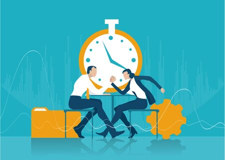 Two business people fighting with Arm wrestling. Business people sitting next to the clock and negotiating the deal. Business concept illustration