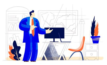 Businessman in office talking and making his point. Business concept illustration