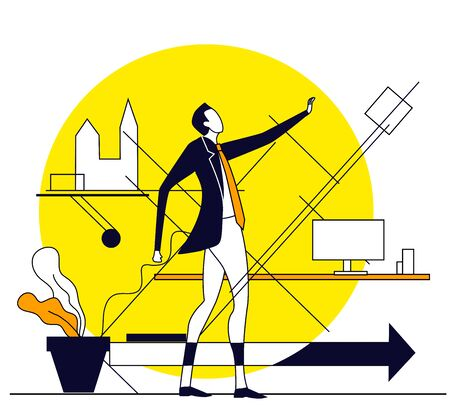 Successful businessman illustration. Business concept collection
