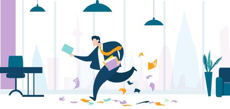 Businessman running in the office in order to get his job done in time. Business concept illustration