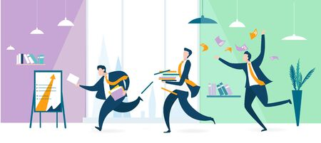 Group of business people running in office, get to the meeting. People overloaded with work. Open plan interior. Business concept illustration