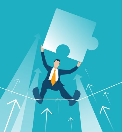 Businessman makes tight-walk walking and holding puzzle piece up. Dangerous financial situation. concept illustration