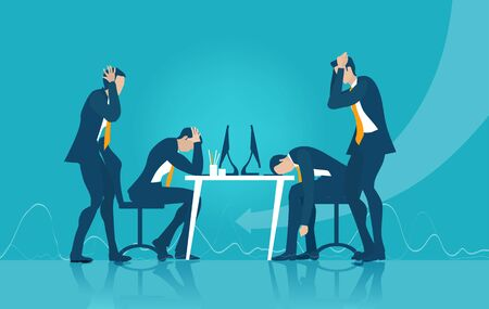 Business people under the stress, overworking, receiving bad news, trying to sort out problems. Concept illustration