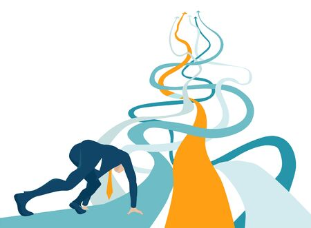 Business man at start line. Business concept illustration