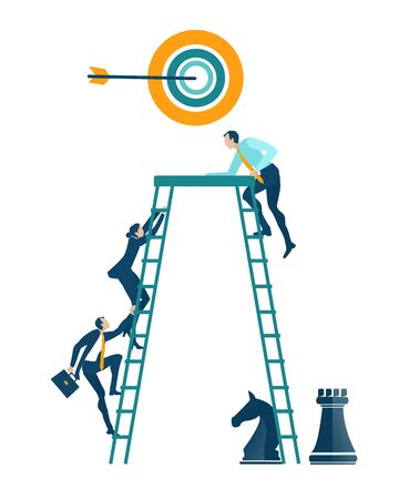Business people climbing up the ladder of success. Business concept illustration