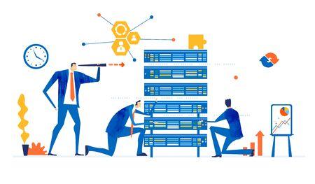 Im Serverraum arbeitet das Support-Team, die Internetsicherheits- und Datenschutzabteilung.