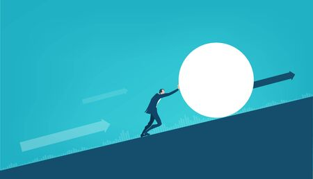 Businessman pushing up the hill big ball, working alone, solving the problem, pushing new business, start up forward