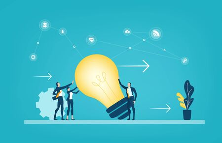 Business people holding up the light bulb, new idea, creative thinking, change and working together concept