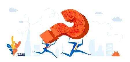 Business people running with big red question mark. Solving problem, making decision and answering the questions business concept illustration Ilustracja