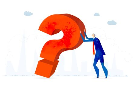 Businessman holding up red big question mark. Solving problem, making decision and answering the questions business concept illustration