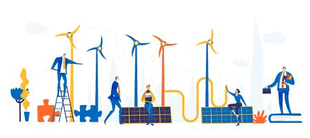 Alternative energy, ecology friendly power, wind power turbines and solar panel. People working for alternative energy resources. Modern flat design business concept illustration