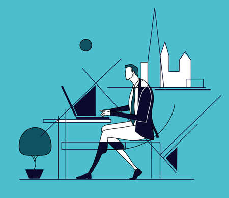 Tired, stressed businessman works long hours. Overloaded with work, deadline, solving the problem. Business concept illustration