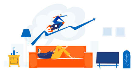 Young man lying down at sofa and working from home. Dreams about professional success. Businessman is earning a lot of money. Self isolation and self employed concept