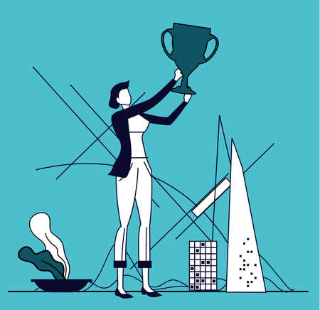 Business woman holds up the golden trophy. Winner, leader, achievement and success. Business concept illustration 일러스트