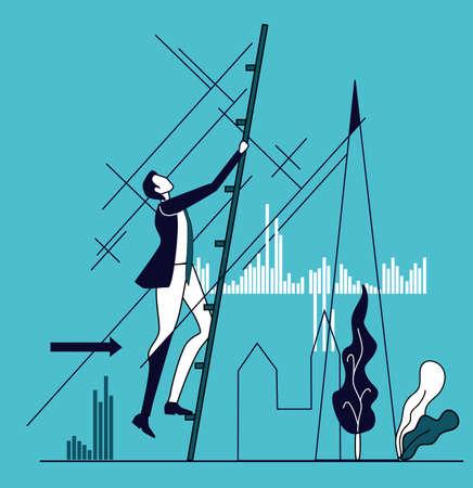 Businessman climbing up with the ladder. Business concept illustration Ilustração