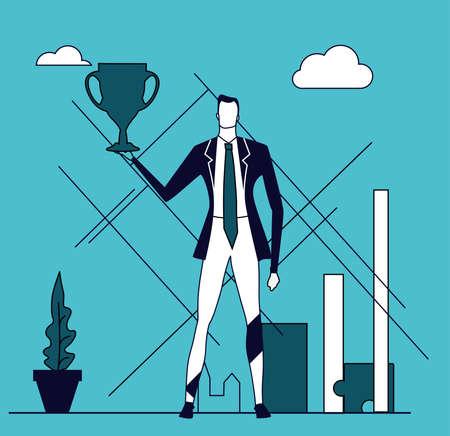 Businessman holds up the golden trophy. Winner, leader, achievement and success. Business concept illustration 일러스트