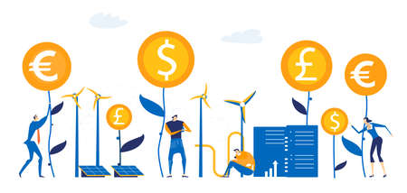 Business people growing money, making a good investments and positive financial progress. Wind energy, alternative energy source idea Vetores