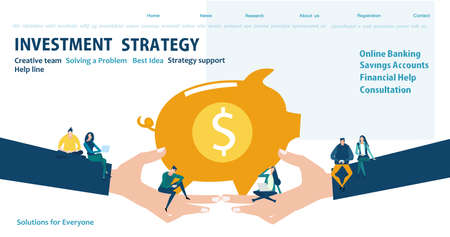 Flat design website or app page template. Financial services, banking, strategic planning, development, business solutions, consulting, market research, teamwork, data analyse, support, security