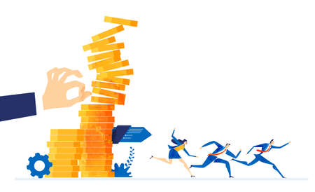 Business people running off from the falling coin stags. Recession, crisis, economy and financial fall concept illustration
