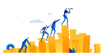Businesswoman climbing on top of coin stags. Success, professional growth and leading concept.