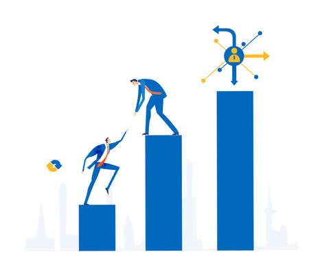 Group of business people climbing at the top of growth bars. Working together, solving the problems concept