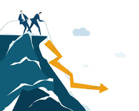 Business people stand up at the edge of cliffs and facing financial fall, economy crisis, problems and recession