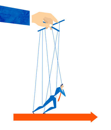 Marionette controlled by the hand of businessman. No freedom, working pressure, tiredness and overloaded, total control concept illustration