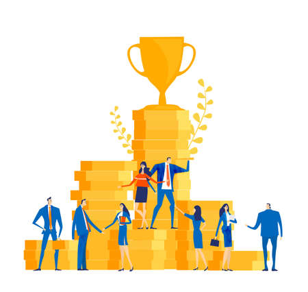Time is money. Group of successful business people, bankers stand at stacked up coins and looking to future for best investment, new business start up, financial growth and improvement. Vektorové ilustrace