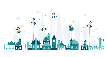 Working from home, global contact, talk to people. Connections, technology, remote working idea. City and internet connections illustration
