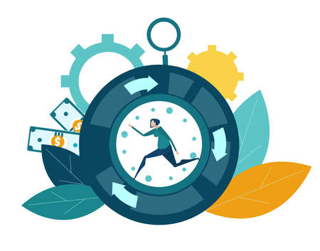 Businessman running inside of clock. Busy modern life, stressed and overloaded life concept