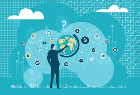 Successful businessman works with globe, international business, world wide connections. Business illustration