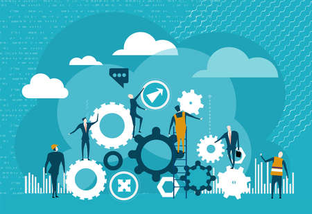 Business people working with gears. Work together.