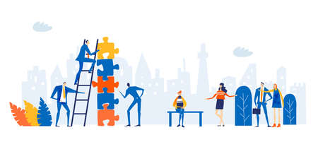 Group of young professional people working around puzzle. Taking responsibilities, making designs and support current deal concept illustration.
