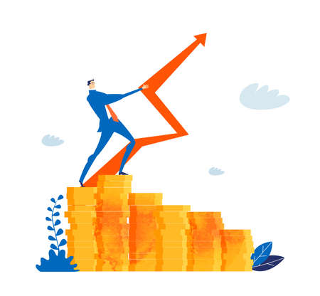 Successful and strong businessman stands on top of coin stack and holding up red arrow as symbol of control and managing situation, Business concept illustration
