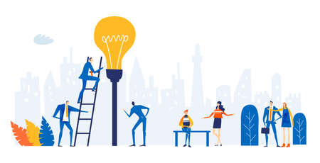 Group of young professional people working around light bulb. Taking responsibilities, making designs and support current deal concept illustration.